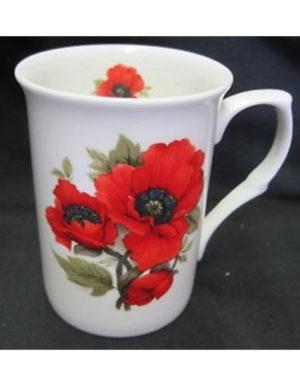 Red Poppy, Fine Bone China Mug, Made in England