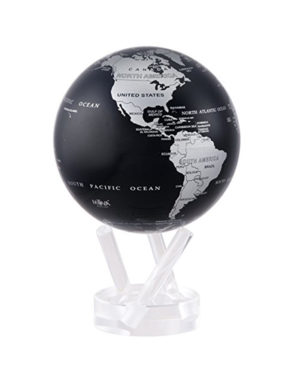 4.5 Silver and Black Metallic MOVA Globe