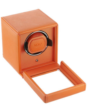 WOLF 461139 Cub Single Watch Winder with Cover, Orange