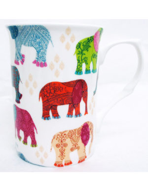 Elephants Mug Fine Bone China Hand Decorated in UK