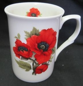 Red Poppy, Fine Bone China Mug, Made in England
